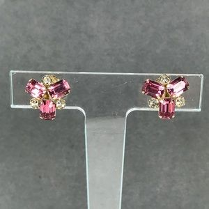 Vintage pink rhinestone gold filled earrings